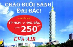EVA Air: Khuyến mãi giá vé siêu rẻ đi Đài Bắc từ 250 USD